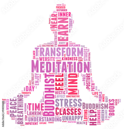 Buddha Meditation Relaxation Peace Harmony Focussilhouette Text