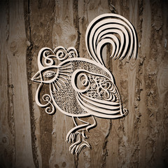 original line art rooster calligraphy drawing on wooden texture,