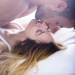 Woman seducing her boyfriend