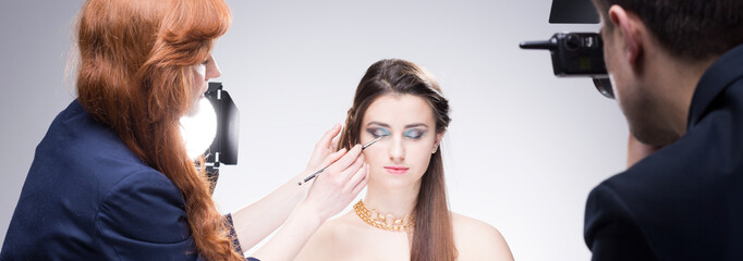 Makeup session with beautiful model
