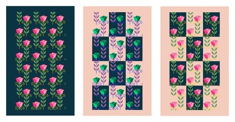 Set of vector cards with flowers. Stylized roses.