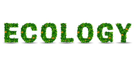 ecology green leaf in the form of letters