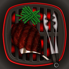 Grilled steak rib-eye and French bean on the grill and tongs for grilling.