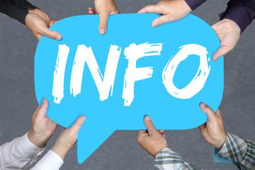Gruppe Menschen halten Info Infos Information Informationen News