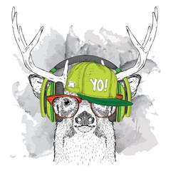 Portrait of deer with glasses, headphones and in hip-hop hat. Vector illustration.