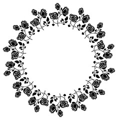 Round black and white frame with roses silhouettes. Vector clip art.