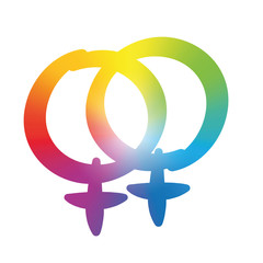 Lesbian love symbol - rainbow gradient colored logo, pleasant rounded typeface - isolated vector illustration on white background.