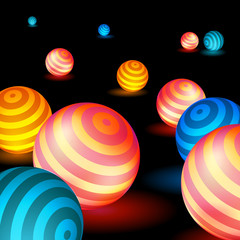 Glowing spheres lie on the surface, the neon balls, bright abstraction