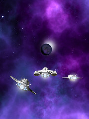 Fleet of Spaceships Approaching a Planetary Nebula - science fiction illustration