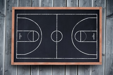Composite image of basketball field