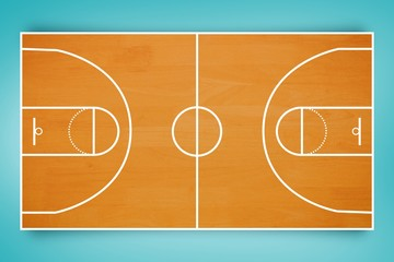 Composite image of basketball field plan