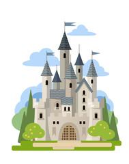 Light stone castle among the trees.  Vector flat illustration.