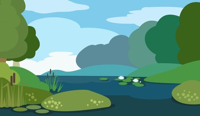 Peaceful morning lake. Vector illustration.