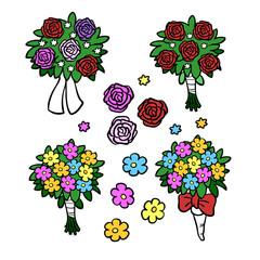 Set mit vielen verschiedenen Blumensträußen