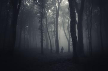 spooky figure in dark forest