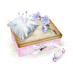 Nice little box with flower and pin cushion. Watercolor