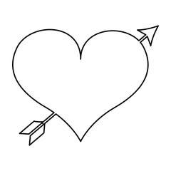 romantic heart with arrow isolated icon design