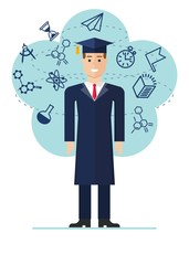 Graduated student image with icons of science. Cartoon flat vector illustration. Objects isolated on a background.