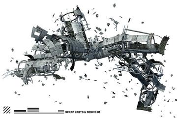 3D Scrap space ship parts and debris 1