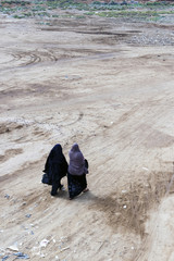 Women walking together, muslim women in traditional clothes, Egy