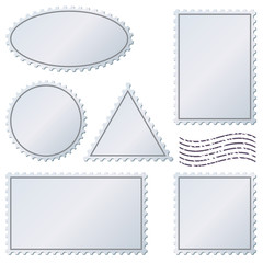 Blank postage stamps vector template.