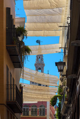 Canopies provide shade in the summer on the road Seville, Spain