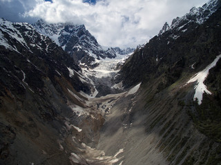 Glacier photos near the town of Mestia, Svaneti, made from the air using quadrocopters
