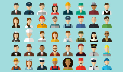 Professions Vector Flat Icons.