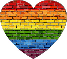 LGBT flag on a brick wall in heart - Illustration, 