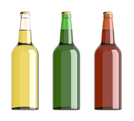 Bottled beer yellow, green and red colors. 3D rendering.
