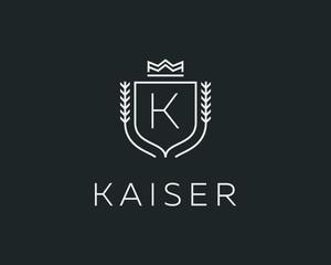 Premium monogram letter K initials ornate signature logotype. Elegant crest logo icon vector design. Luxury shield crown sign.