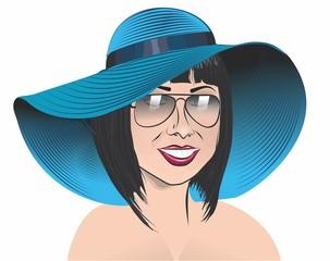 девушка в шляпе с полями