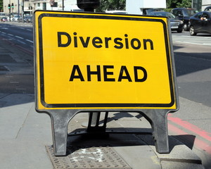 Diversion Ahead sign on a street in London, United Kingdom