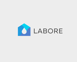 Abstract drop house logo design template. Colorful water home vector icon