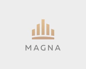 Abstract city town logo icon vector design. Crown symbol. Elegant house hotel architecture logotype. Royal graph diagram king premium emblem
