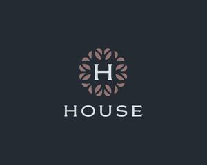 Premium monogram letter H initials logo. Universal symbol icon vector design. Luxury abc leaf logotype.