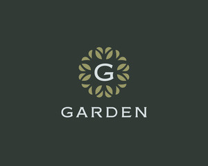 Premium monogram letter G initials logo. Universal symbol icon vector design. Luxury abc leaf logotype.