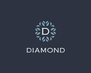 Premium monogram letter D initials logo. Universal symbol icon vector design. Luxury abc leaf logotype.