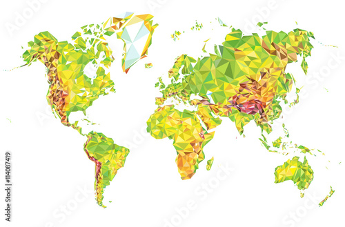 Physical world map in polygonal style stock image and royalty free physical world map in polygonal style gumiabroncs Gallery