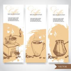 Set of coffee banners. Vintage hand drawn design elements. Vintage coffee machine, cup of coffee and turkish coffee pot.