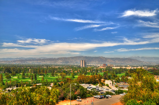 Colorful HDR image of a panoramic View of  Los Angeles