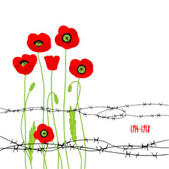Card with poppies and barbed wire