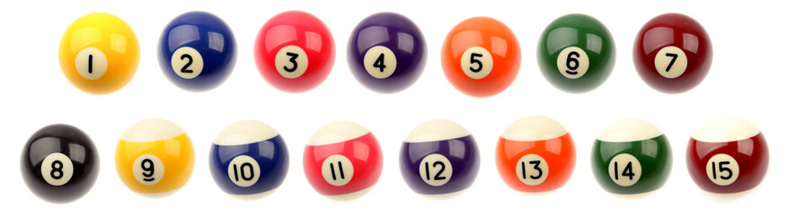 Fifteen pool snooker balls on plain background