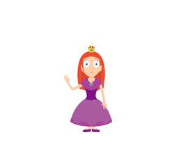 Cartoon characters of princess with purple dress and small crown isolated on white.