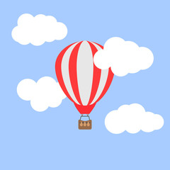 Hot air balloon in the cloudy sky. Vector illustration