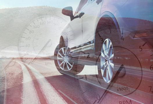Speedometer on transparent car background