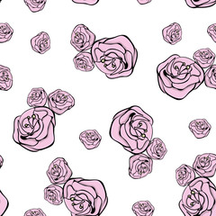 background with flowers, vector floral seamless pattern, rose, p