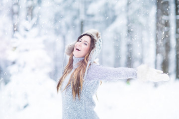 winter Zeit Frau Schnee