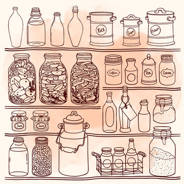 Hand drawn set of different jars and bottle. Canning on shelves