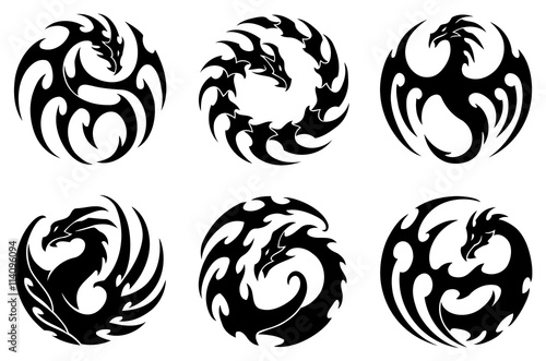 vector illustration set of round tribal dragon tattoo designs black and white graphics stock. Black Bedroom Furniture Sets. Home Design Ideas